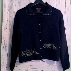 Woolrich Wool Grey Cabin Buttondown Sweater